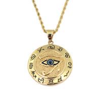 Egípcio O Olho de Horus Colar Pingente Para As Mulheres / Homens Cor de Ouro Aço Inoxidável Olhos Maus Colar Egípcio Rodada Jóias