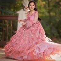 Linda penas Cirls Pageant Vestidos Luxo Pérolas Applique Manga Longa Vestido Aniversário 2018 Nova Chegada Flor Meninas Vestidos