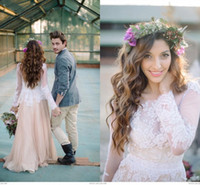 Primavera 2015 Outono Longo Mangas Poeta Boho Vestidos de Casamento Apliques de Rendas Apliques de Chiffon Jóia Do Pescoço Vestidos de Casamento Boêmio