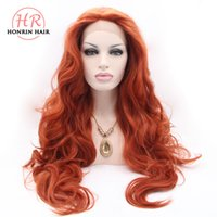 Honrin Hair Color 350# Red Body Wave Wig Synthetic Lace Fron...