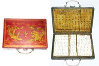 144 штуки MAH-JONG MAHJONG SET +2 DEICE + красная кожаная древесная коробка дракона