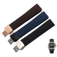 21mm caoutchouc imperméable à l'eau montre bracelet en silicone sangle plier la boucle bleu brun noir bracelet en cuir pour montre PP avec des outils