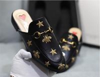 Diseñador de lujo de lujo Slipper Slipper Princetown Zapatillas Bees Snake Mules Mocasines Genuine Womens Cuero Pisos con hebilla Patrón con caja