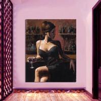 """Modern Handcraft Art peinture à l'huile sur toile: Bar beauty. 24x32 """"décoration de la maison non étirée"""