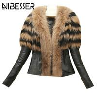 NIBESSER новые женские пальто 2017 Осень Зима высокая улица искусственный мех воротник пальто искусственной кожи теплая куртка пальто Outwears