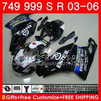 Fabriks svart kropp för Ducati 749s 999s 749 999 2003 2004 2005 års karosseri 105HM.33 749 s 999 R 749-999 749R 999R 03 04 05 06 Fairing Kit