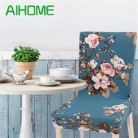 Floral Print Chair Cover Home Dining Elastic Chair Covers Mu...