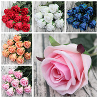 5 Colors Artificial Flowers real touch silk roses flower bou...