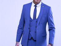 Kraliyet Mavi Üç Parçalı Damat Smokin Tepe Yaka Bir Düğme Adam Düğün Takım Mükemmel Erkekler Iş Yemeği Balo Blazer (Ceket + Pantolon + Kravat + Yelek)