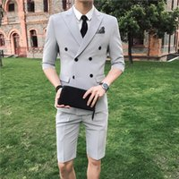 2018 Custom Made Short Pants Gray Men Wedding Suits Double B...