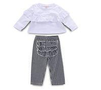 Bébé lotus blanc plissé t-shirt ensemble fille printemps et automne treillis pantalon costume deux pièces vêtements enfants zht 138