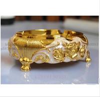 Commercio all'ingrosso - Posacenere continentale dorato Bianco antiossidante Rose Posacenere Forniture alberghiere di alta qualità