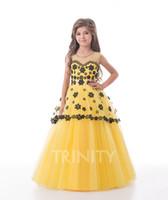 Bright Yellow Purple Tulle Applique Flower Girl Dresses Girl...