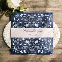 Großhandel Neue Hochzeitseinladungen Gold Lace Flora Square ...