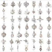 Joyería de moda Perla de plata Joya de la jaula Medallón Colgante Hallazgo Jaula Difusor de aceite esencial Medallón para las mujeres de la perla de la ostra