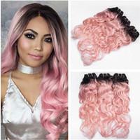 Vague Vierge Homme Ombre cheveux roses indien Tissages Extensions foncé Racine # 1B / Rose Ombre humaine Bundles cheveux offres humides et onduleux