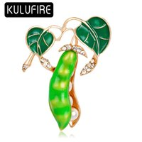 KULUFIRE Fashion Enamel Esmalete Green Pea Brooches for Wome...