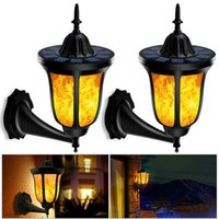 96 LED Dancing Solar Flickering Flames Wall Lights Outdoor W...
