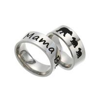 Acero inoxidable Mama Oso Anillo Esmalte Cachorros de la madre y los niños joyería anillo de la venda de moda para mamá regalo de cumpleaños nave de la gota