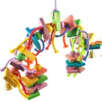 Bird Chew Toy Colorful Wooden Durable Cotton Rope Hanging Blocks String Bite Large Medium Small Pet Bird Stand Rack Play Toy Parrot Supplies