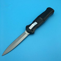BM 3300 Manico nero Silver Double Blade Action Punta d'acciaio D2 point Plain Coltelli tattici