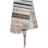 Taomi Gans Messianic Jewish Tallit Blue e Gold Prayer Scialle Talit e Talis Bag Sciarpe di preghiera