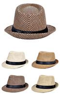 Sıcak Moda Caz Hasır Şapkalar Erkekler Için Panama Dokuma Şapka Geniş Ağız Güneş Şapkaları Serin Erkekler Caz En Kapaklar