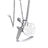 Tag de identificação de coração de prata com Crystal Medical Kit de símbolo de alerta em aço inoxidável