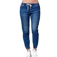 İpli Gevşek Kot Pantolon Dantel-up Bayanlar Moda Harem Streç Kot Kot Pantolon Uzun Pantolon Kadın Saf Renk
