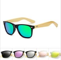 Square Shades Brand Design Bambus polarisierte Sonnenbrille Männer Holz Frauen Sport Retro Vintage Brillen polorisierten Spiegel Unisex Oculos 17 Farben