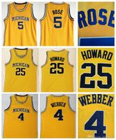 Mäns Michigan Wolverines 5 Jalen Rose Jersey 4 Chris Webber Jersey 25 Dwight Howard Jersey University Stitched College Basketball Jerseys