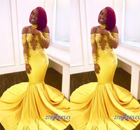 2018 Yellow African Mermaid Prom Dresses Long Lace Off Shoul...