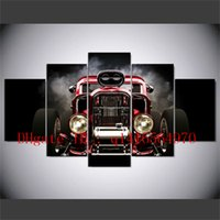 Hot Rod Front View con Smono Burnout, 5 pezzi Stampe su tela Wall Art Oil Painting Home Decor / (Senza cornice / Incorniciato)