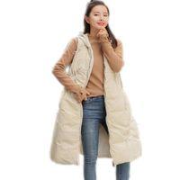 Frauen-Winter-Weste 2018 New Design Down-Baumwolle A-Line Weste Weibliche Kapuze lose verdicken warme Weste weibliche hohe Qualität Q928