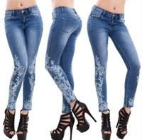Women Lace Flower Embroidery Jeans Female Slim High Waist Lo...