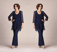 Navy Blue Chiffon Mother Of The Bride Pant Suits Long Sleeve...