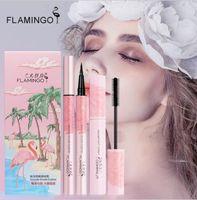 FLAMINGO Mascara Eyeliner a lunga durata spessa e arricciabile Matita per trucco di bellezza Set per ciglia nere Mascara Eyeliner Kit di cosmetici