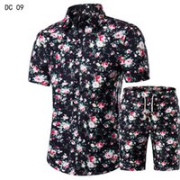 2018 New fashion suit and shirt suit, men's shirt + shorts men's summer casual  shirt