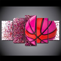 HD Printed 5 Piece Canvas Art Pink Basketball Paintings Wall...