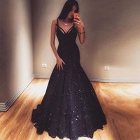 Navy Blue Lace Mermaid Prom Dresses V Neck Spaghetti Straps ...