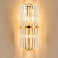 Lámpara de pared de cristal moderna Lámpara de pared de lujo Iluminación de pared Aplique de cristal para pasillo de cabecera junto a la cama con enchufe E14