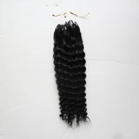 """Perles Micro Curly Aucun Remy Nano Anneaux Liens Extensions de cheveux bouclés humains 10 """"-26"""" 1.0g / s 100g"""