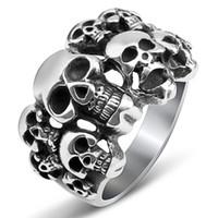 Lujoyce marca novo crânio dos homens anel de cluster de aço inoxidável preto hiphop anel do vintage de alta qualidade de metal jewlry