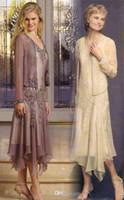 Cheap новейший дизайн A-Line V-образным вырезом Мать невесты платья для чая Длина органза Аппликации бусины с длинным рукавом куртка 2017 новый