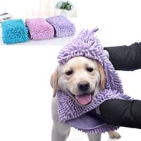 الحيوانات الأليفة منشفة حمام خيارات سريعة التجفيف ماص القط الكلب حمام غطاء قفازات الألياف الشانيل الاستمالة المناشف جرو الكلب تنظيف 60 * 35CM