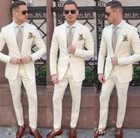 Özel Fildişi Erkekler Düğün Smokin Balo Damat Giyim 2 Parça için Suits (ceket + Pantolon) Sağdıç Kıyafet Adam Blazer Terno Masculino Kostüm Homme
