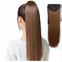 Krawatte auf Pferdeschwanz Haarverlängerungen Schwanz Haarteil Lange Gerade Synthetische Frauen Haar Hitzebeständige Faser Kostenloser Versand