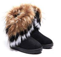 Kostenloser Versand Damen Stiefel Herbst und Winter Schneestiefel Federn Fuchspelz flach-unten kurz Baumwolle-gepolsterte Schuhe Winterstiefel WEIHNACHTEN gif