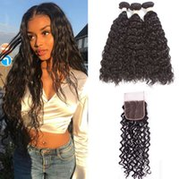 Brazilian water Wave Human Hair Bundles With Closure 4 pcs l...