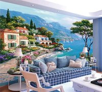 Custom 3D Mural Wallpaper Mediterranean Oil Painting Landsca...